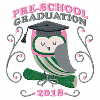 Owl Preschool Typography Collection #04 Machine Embroidery Design