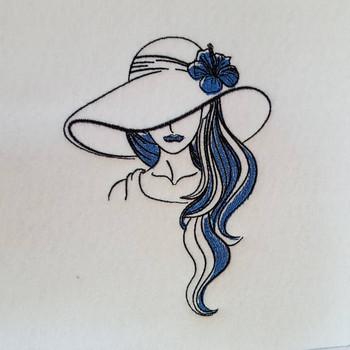 Shaded Hat Modern Ladies #4 Machine Embroidery Designs