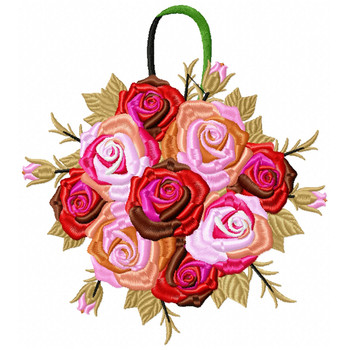 Pomander Bouquet Wedding Bouquet Collection #05 Machine Embroidery Design