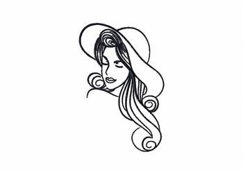 Summer Hat Modern Ladies #6 Machine Embroidery Designs
