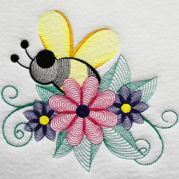 Bees And Flowers #03 Machine Embroidery Design