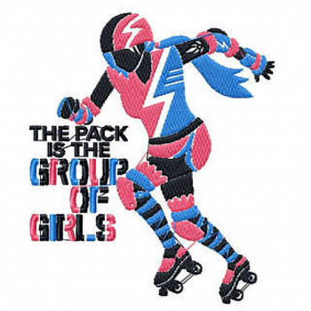 Group Of Girls - Roller Derby Girl #3 Machine Embroidery Design