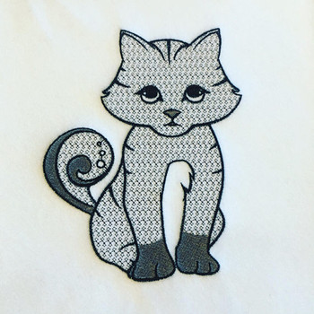 Ornamental Kitty Cat - Ornament Animal Collection #21 Machine Embroidery Design