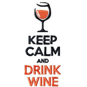 Keep Calm Wine Bag Design #1 Machine Embroidery Design