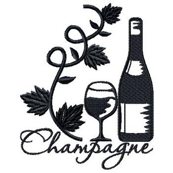 Champagne Vine Wine Bag Design #5 Machine Embroidery Design