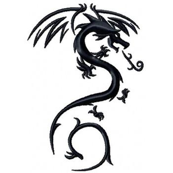 Fire Dragon Tattoo - Tribal Dragon #3 Machine Embroidery Design