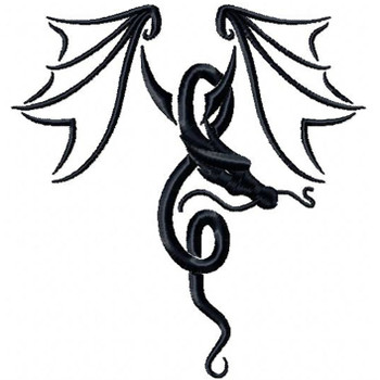 Winged Dragon Tattoo - Tribal Dragon #5 Machine Embroidery Design