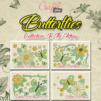 Butterflies Mug Rug 4 Pack In The Hoop Machine Embroidery Design