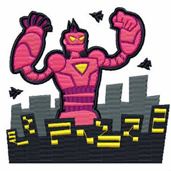 Pink Cyborg - Robot Collection #04 Stitched and Applique Machine Embroidery Design