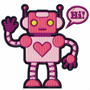 Love Cyborg - Robot Collection #08 Stitched and Applique Machine Embroidery Design