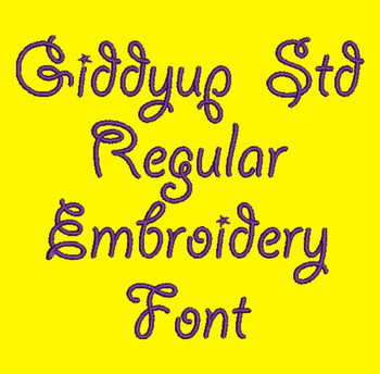String Font - Giddyup Std Regular Machine Embroidery Font  Now Includes BX Format!