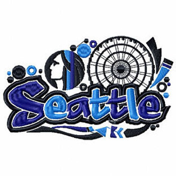 Seattle - Geography Graffiti Collection #10 Machine Embroidery Design