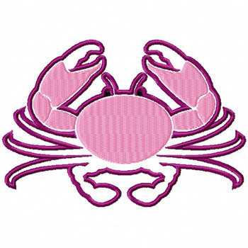 Pink Crab - Under The Sea Collection #03 Stitched and Applique Machine Embroidery Design