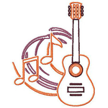 Outlined Acoustic Guitar - Musical Instrument Collection #08 Machine Embroidery Design