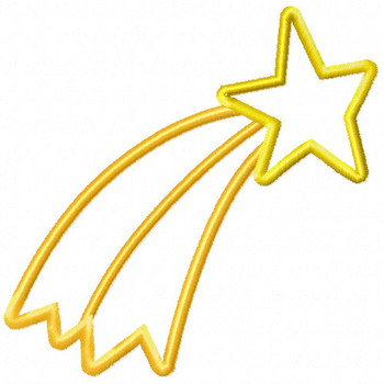Falling Star - Stars #01 Stitched and Applique Machine Embroidery Design
