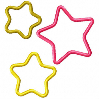Three Stars - Stars #04 Stitched and Applique Machine Embroidery Design