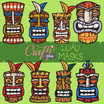 Luau Mask Collection 8 Machine Embroidery Designs