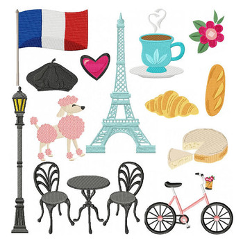 French Cafe Collection 13 Machine Embroidery Designs