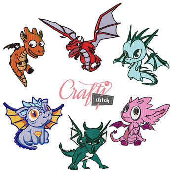 Dragon Cartoon Collection 6 Machine Embroidery Designs