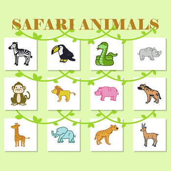 Safari Animals Collection of 12 Machine Embroidery Designs in Stitched and Applique