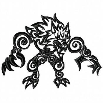 Werewolf- Tribal Tattoo Halloween Design #04 Machine Embroidery Design