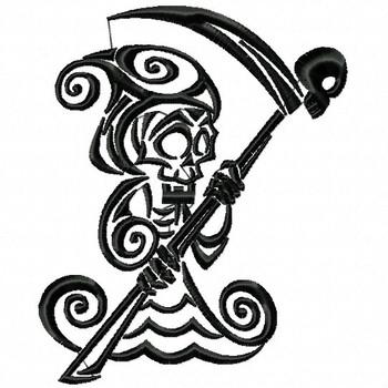 Grim Reaper - Tribal Tattoo Halloween Design #05 Machine Embroidery Design