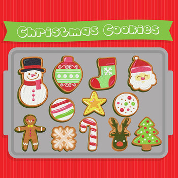 Christmas Cookies Collection of 12 Machine Embroidery Designs in Stitched and Applique