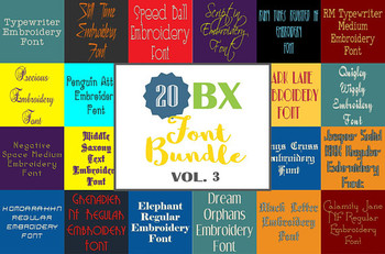 20 BX Fonts - Font Bundle 3 - 20 Embrilliance Machine Embroidery Fonts