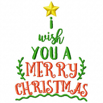 I Wish You a Merry Christmas - Christmas Typography #10 Machine Embroidery Design
