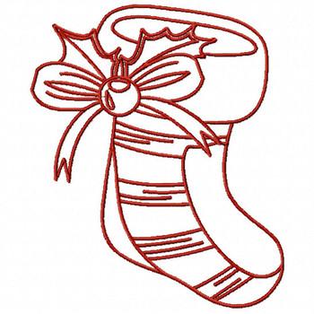 Redwork Christmas Stockings #03 Machine Embroidery Design