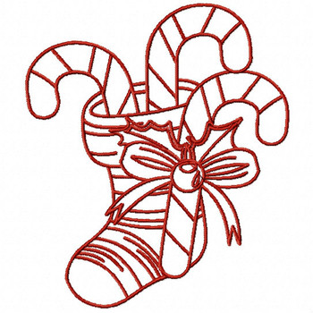 Redwork Christmas Stockings #04 Machine Embroidery Design