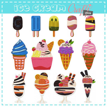 Ice Cream Collection of 13 Machine Embroidery Designs