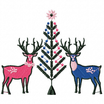 Christmas Reindeer #01 Machine Embroidery Design