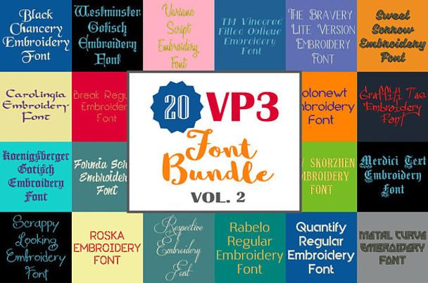 Machine Embroidery Fonts 20 Vp3 Font Bundle Volume 2