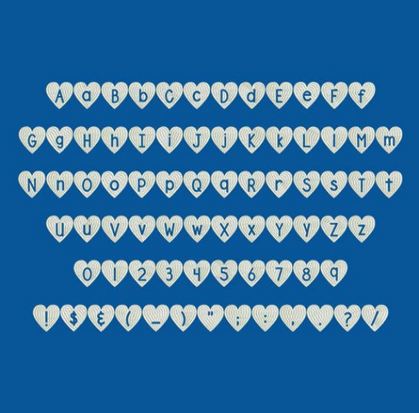 DJB Shape Up Hearts Machine Embroidery Font Now Includes BX Format!