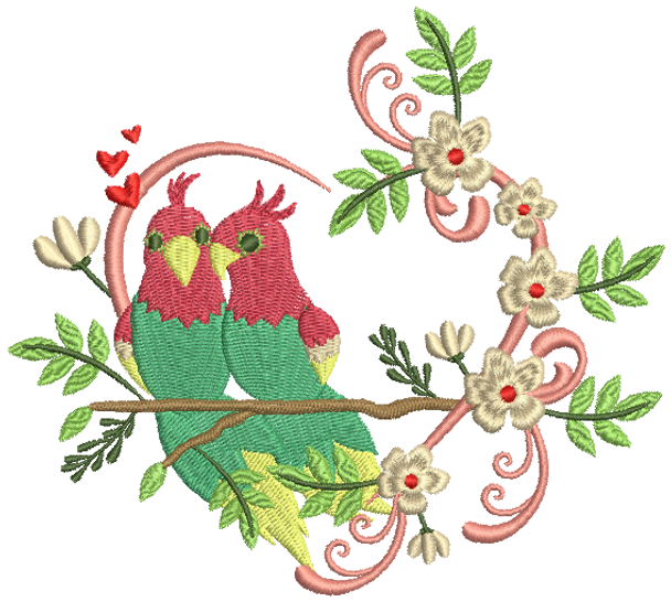 Machine Embroidery Design Love Birds Collection 02