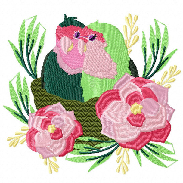 Machine Embroidery Design Love Birds Collection 04