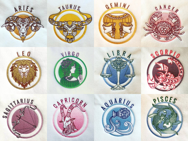 Horoscope Zodiac Collection 12 Machine Embroidery Designs