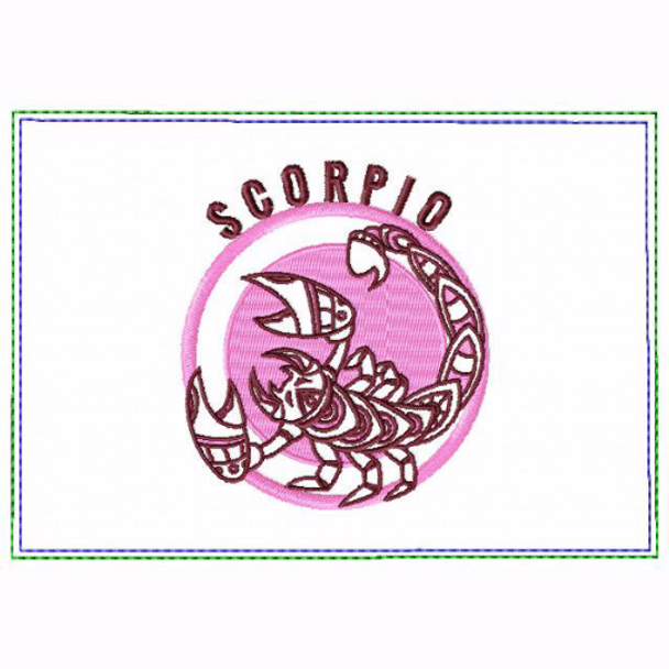 Scorpio Zodiac Small Money Purse - In The Hoop Machine Embroidery Design
