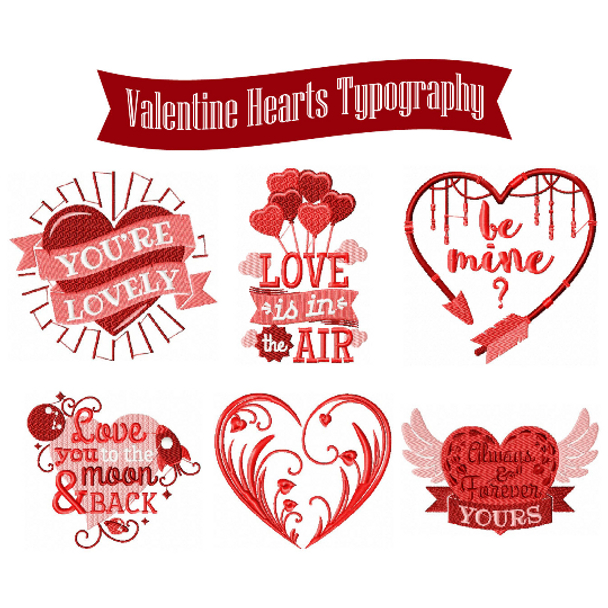 Machine Embroidery Designs Valentines Hearts Typography Collection