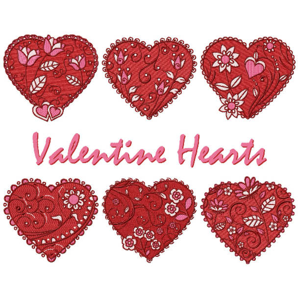 Valentines Hearts Collection of 6 Machine Embroidery Designs