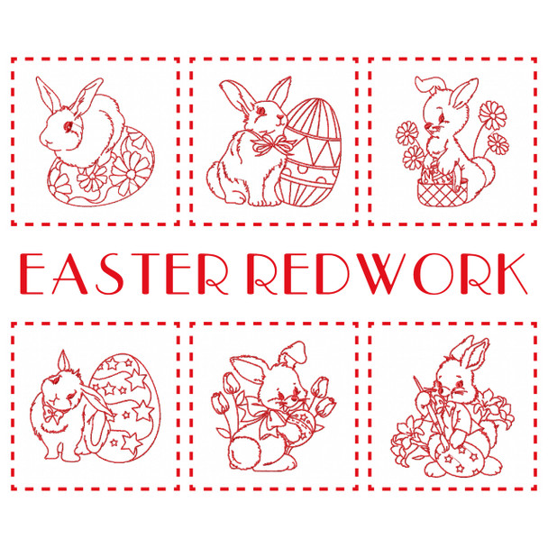 Machine Embroidery Design Easter Redwork Bunnies Collection Of 6