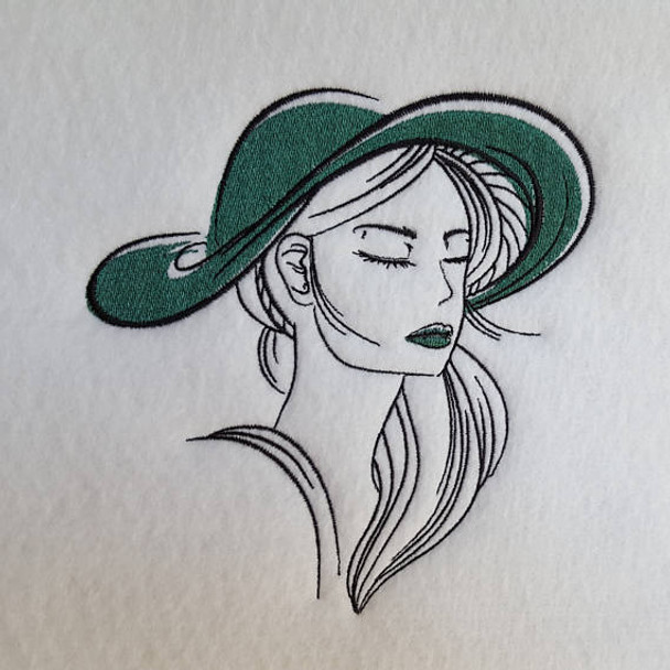 Machine Embroidery Design Hat Modern Ladies Design 3