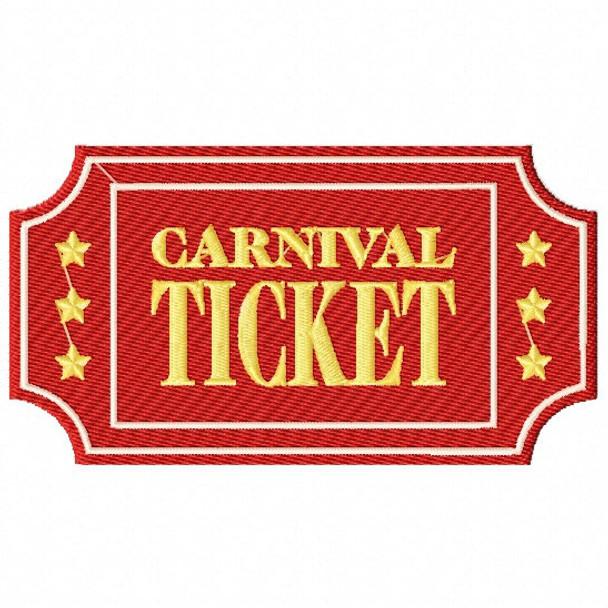 Machine Embroidery Design Carnival Ticket