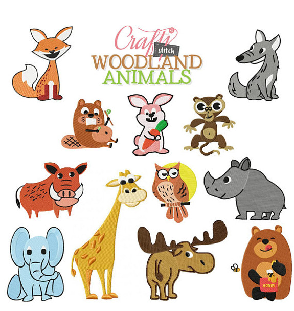 Machine Embroidery Designs Woodland Animals Collection
