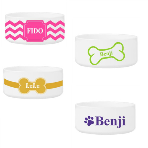 Personalized Large Dog Bowl 4 Designs And 9 Colors