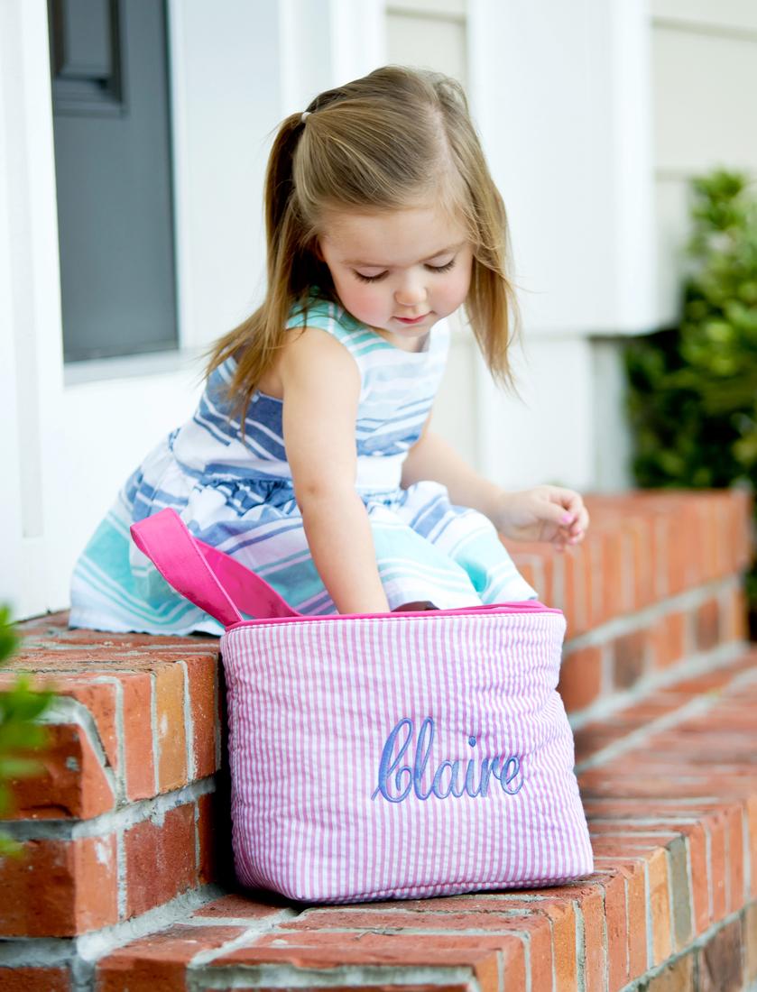 Seersucker Easter Bucket - Pink and White