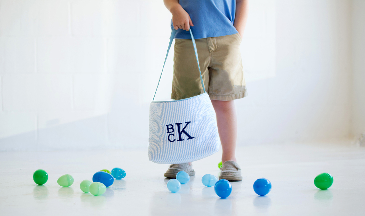 Seersucker Easter Bucket - Blue and White