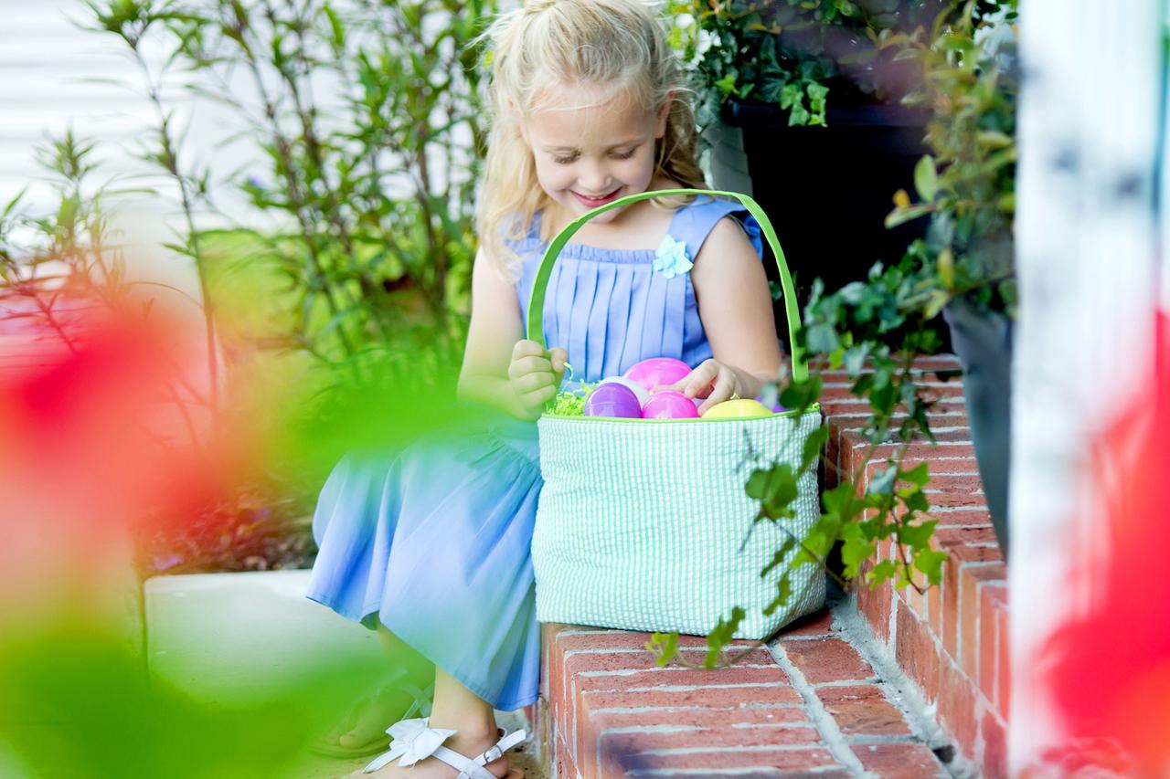Seersucker Easter Bucket -Green and White