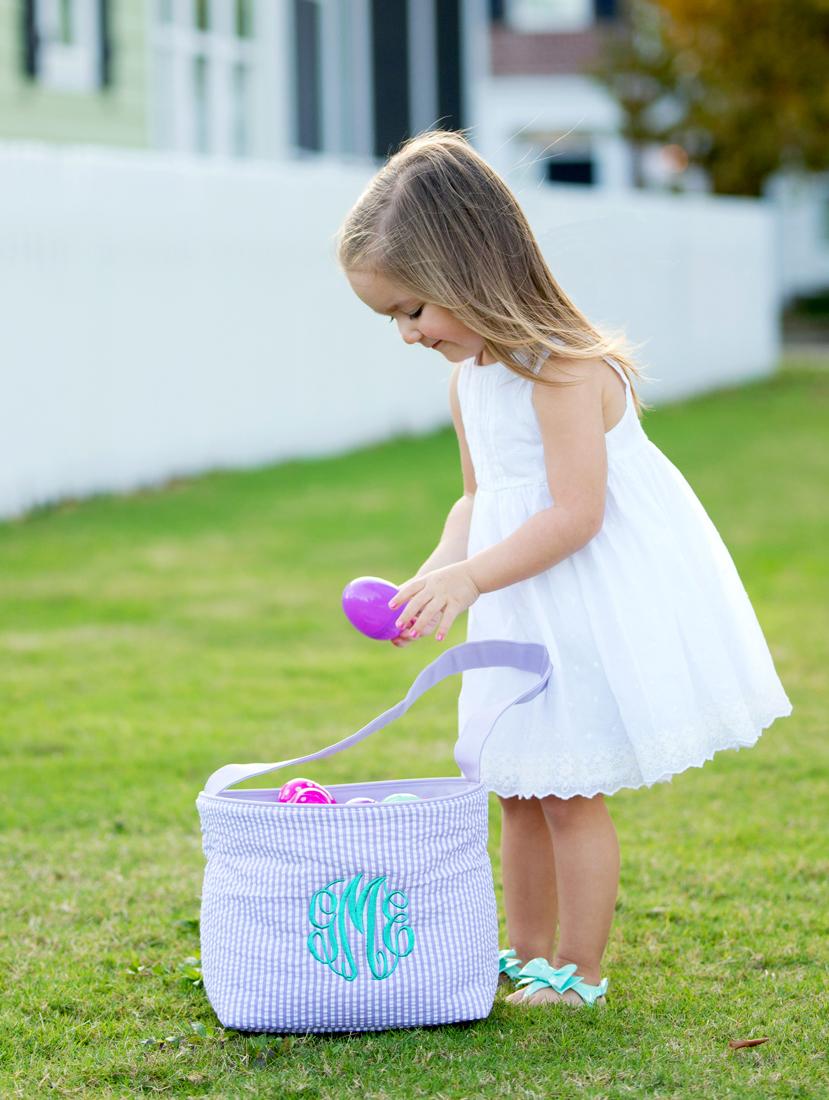 Seersucker Easter Bucket - Purple and White
